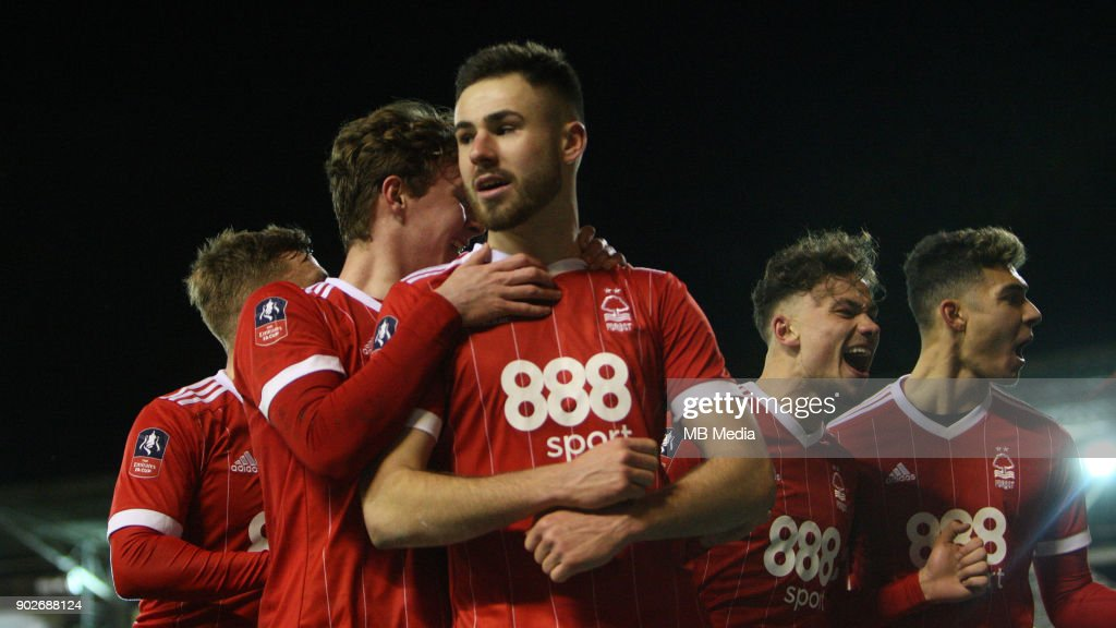 Forest celebrate Ben Brereton's penalty to make it 3-1 to Forest during The Emirates FA Cup Third Round match between Nottingham Forest and Arsenal at City Ground on January 7, 2018 in Nottingham, England..