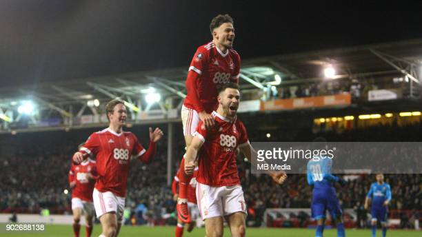 Forest celebrate going 31 up against Arsenal after a Ben Brereton penalty during The Emirates FA Cup Third Round match between Nottingham Forest and...