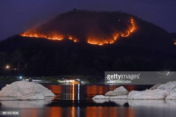Bosbrand boven de Mekong rivier, Luang Prabang, Laos