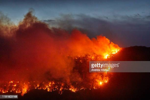 forest fire, bushfire with flames and smoke clouds on mountain at dusk, night, blue mountains, australia - australia fire stock pictures, royalty-free photos & images