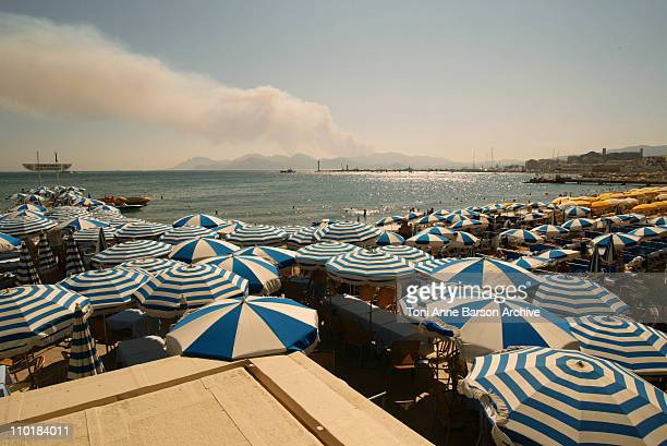 Forest Fire in Saint Raphael view from the Croisette Cannes Bay The French Riviera is undergoing heavy Forest Fires since last week