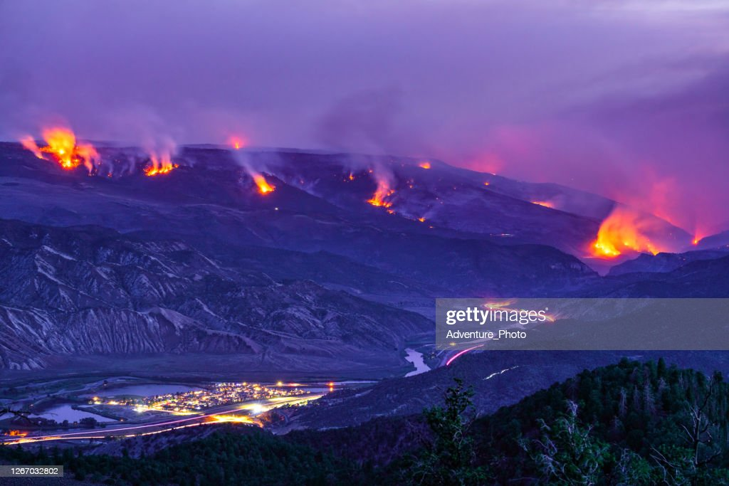 Forest Fire Raging Wildfire at Night : Stock Photo
