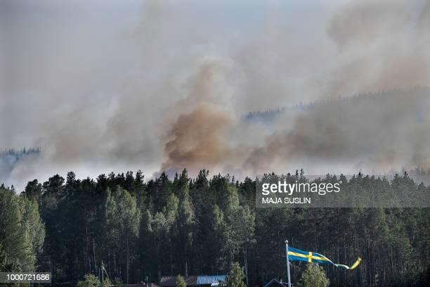 Forest fires burn near Ljusdal Sweden on July 17 2018 / Sweden OUT