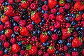 Forest fruit berries overhead assorted mix in studio