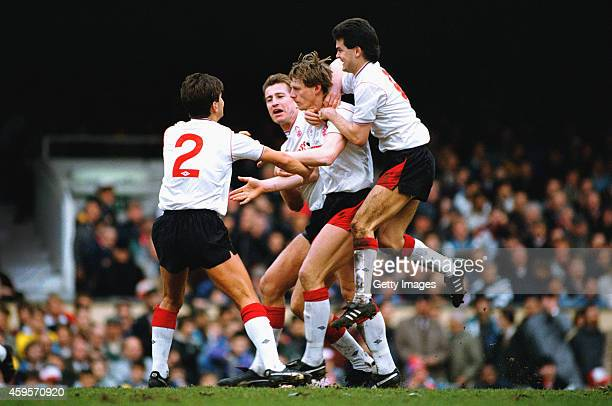 Forest goalscorer Stuart Pearce is congratulated by left to right Brian Laws Lee Chapman and Steve Hodge during a League Division One match between...
