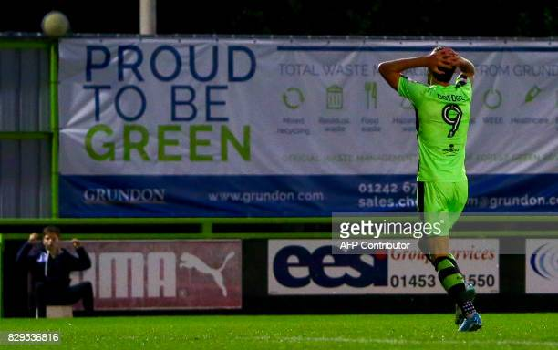 Forest Green Rovers' Christian Doidge reacts during the EFL Cup football match between Forest Green Rovers and MK Dons at The New Lawn stadium in...