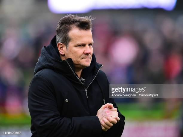 Forest Green Rovers manager Mark Cooper during the prematch warmup prior to the Sky Bet League Two match between Forest Green Rovers and Lincoln City...