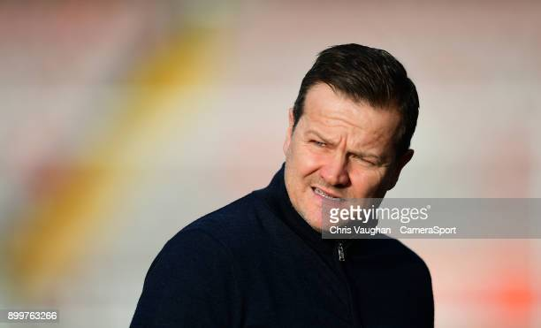 Forest Green Rovers manager Mark Cooper prior to the Sky Bet League Two match between Lincoln City and Forest Green Rovers at Sincil Bank Stadium on...