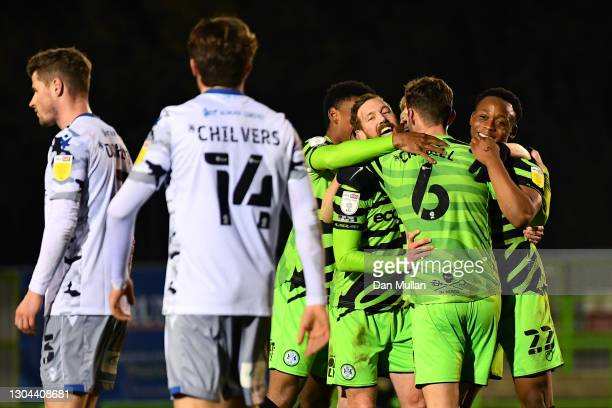 Forest Green Rovers players celebrate after their team's third goal, an own goal by Brendan Sarpong-Wiredu during the Sky Bet League Two match...