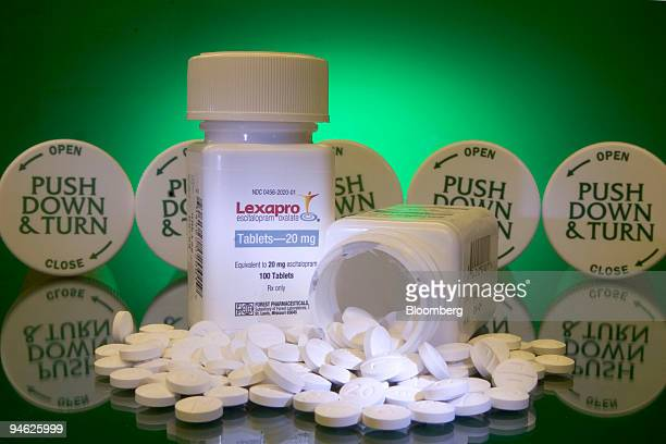Forest Laboratories antidepressant drug Lexapro is arranged in a Cambridge Massachusetts pharmacy Tuesday October 17 2006 Forest Laboratories Inc...