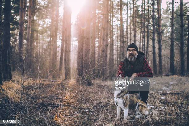 Forest, man and dog
