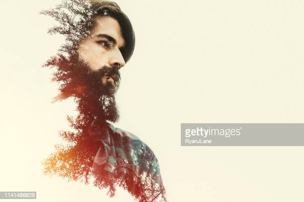forest man portrait double exposure - multiple exposure stock pictures, royalty-free photos & images