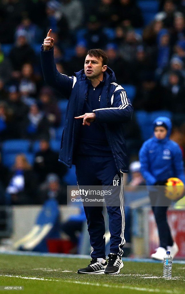 Forest manger Dougie Freedman gives out his order from the touchline during the Sky Bet Championship match between Brighton & Hove Albion and Nottingham Forest at The Amex Stadium on February 07, 2015 in Brighton, England.