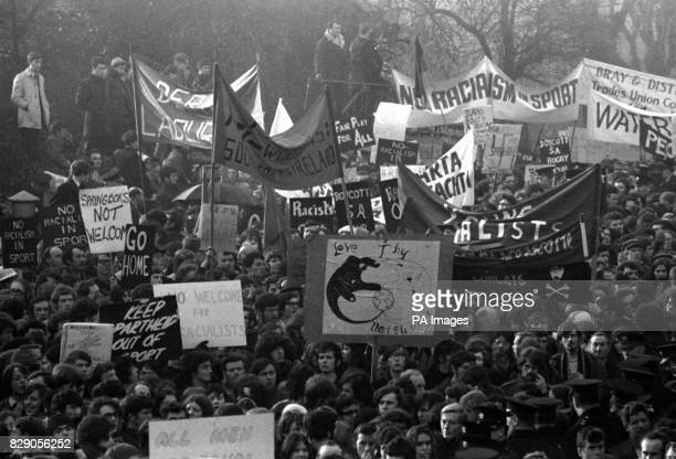 A forest of banners as a crowd of antiapartheid demonstrators outside Lansdowne Road in Dublin where South Africa were playing Ireland