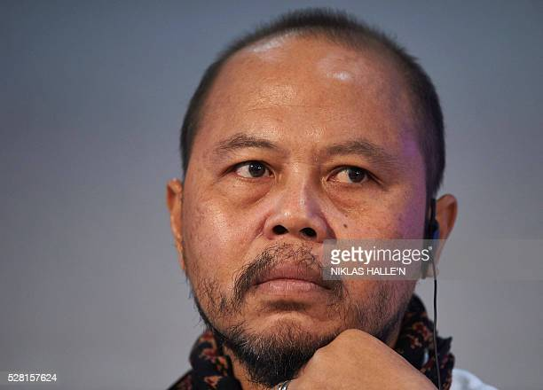 Forest Peoples Programme's Indegineous representative from Indonesia Yafet Leonard Franky listens during the Forest People Programme press conference...