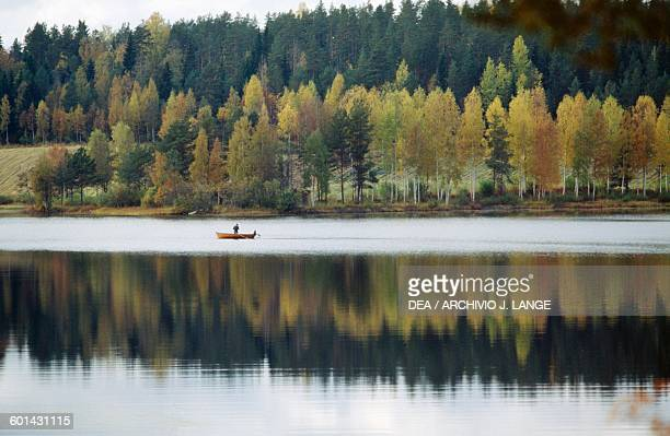 A forest reflected in the waters of a lake with a small boat in the middle Lakeland Finland