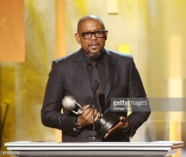 Forest Whitaker accepts the Chairman's Award onstage during the 45th NAACP Image Awards held at Pasadena Civic Auditorium on February 22 2014 in...