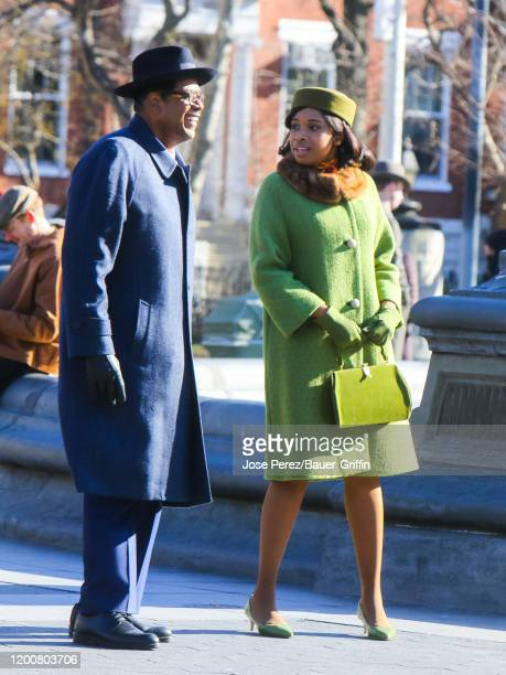 Forest Whitaker and Jennifer Hudson are seen at the movie set of the 'Respect' in Washington Square Park on February 14 2020 in New York City