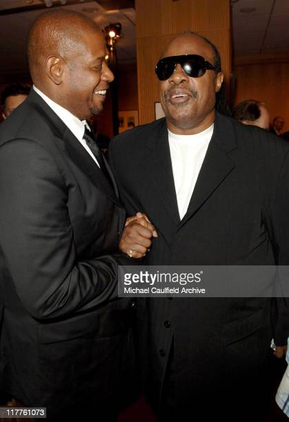 Forest Whitaker and Stevie Wonder during Fox Searchlight Pictures Presents the Los Angeles Premiere of The Last King of Scotland at Academy of Motion...