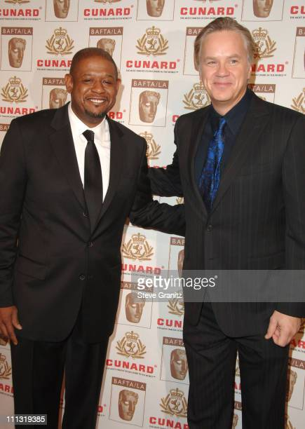 Forest Whitaker and Tim Robbins during The 2006 BAFTA/LA Cunard Britannia Awards - Arrivals at Hyatt Regency Century Plaza Hotel in Los Angeles,...