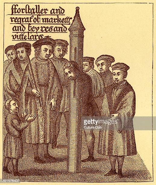 A forestaller in the pillory The pillory was a wooden or metal post used for restraining petty criminalsThe punishment like that of the stocks was...