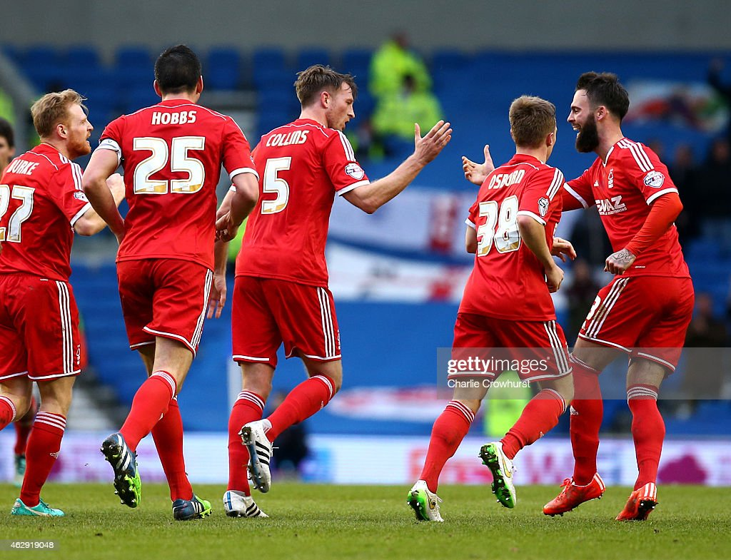Forest's Danny Collins (5) celebrates after scoring the teams first goal of the game during the Sky Bet Championship match between Brighton & Hove Albion and Nottingham Forest at The Amex Stadium on February 07, 2015 in Brighton, England.