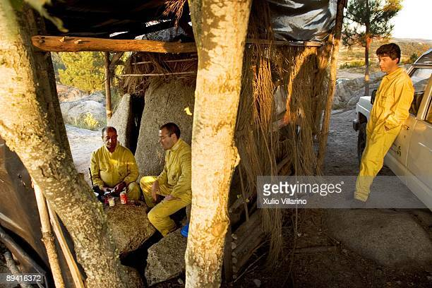 Forests fires Members of the fight against fires waiting to go to some fire Orense Galicia