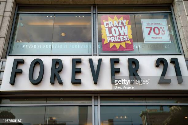 Forever 21 store stands in Union Square in Manhattan on September 12, 2019 in New York City. The Wall Street Journal reported that the retail chain...