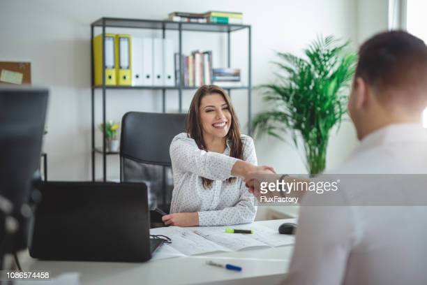 forewoman interviewing a job candidate - recruitment stock pictures, royalty-free photos & images