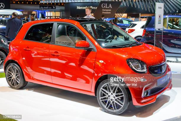ForFour compact hatchback city car on display at Brussels Expo on January 13, 2017 in Brussels, Belgium. The second generation Forfour is developped...