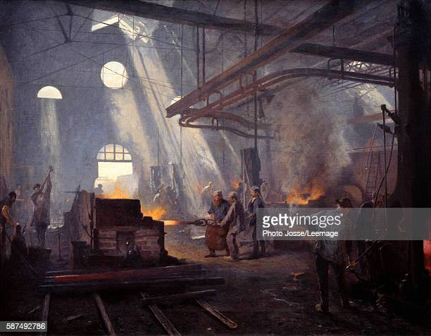 A forge Painting by Fernand Cormon 1893 Oil on canvas 072 x 090 m Orsay Museum Paris