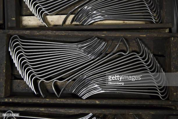 Forged steel pry bars sit in a bin at the Vaughan Bushnell Manufacturing Co facility in Bushnell Illinois US on Friday March 31 2017 The US Census...