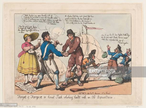 Forget & Forgive, or Honest Jack Shaking Hands with and Old Acquaintance , September 3, 1799. Artist Thomas Rowlandson, Rudolph Ackermann.