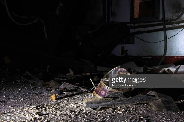 forgotten projector room - demolishing photos stock photos and pictures