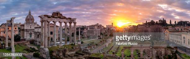 fori imperiali pano - rome italy stock pictures, royalty-free photos & images