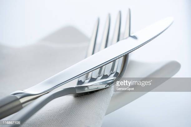 fork and knife - silverware stock pictures, royalty-free photos & images