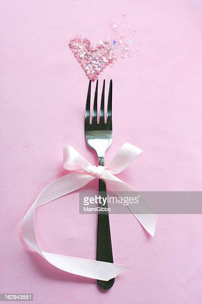 Fork decorated with ribbon