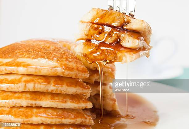 fork in pancakes - pancake stock pictures, royalty-free photos & images
