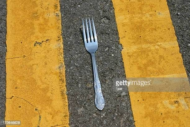 Fork in the road closeup
