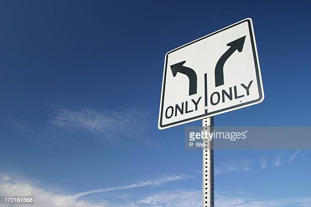 Fork in the road sign-left or right