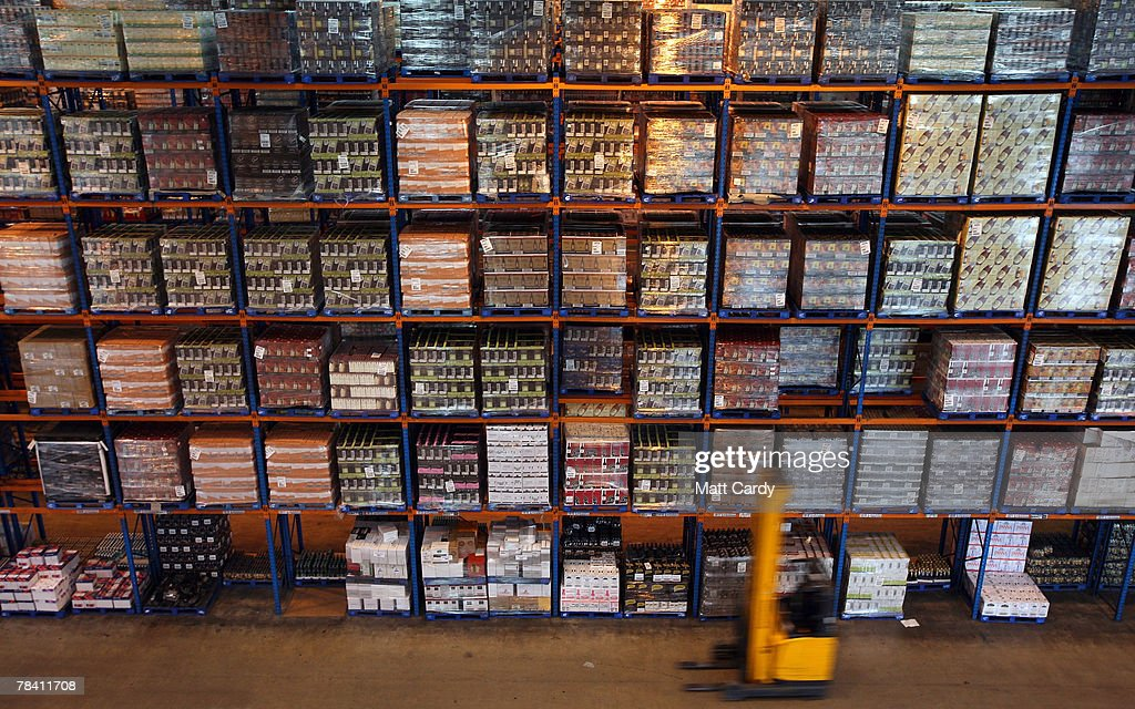 A fork lift truck moves in front of stock about to be sent out at the giant distribution centre in Avonmouth on December 12 2007 near Bristol, England. The giant warehouse, owned by Constellation Europe, is currently packed full of pallets of alcohol to be dispatched - with 90per cent destined for the UK - which means a lorry leaving every seven minutes, 24 hours a day, to keep up with demand.