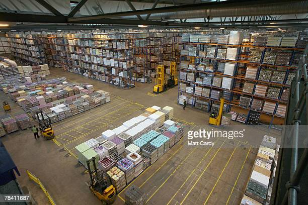 Fork lift trucks move in front of stock about to be sent out at the giant distribution centre in Avonmouth on December 12 2007 near Bristol, England....