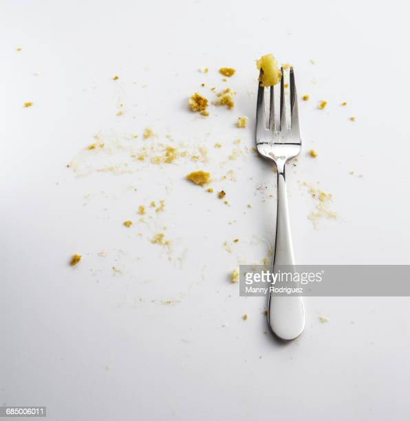 Fork with crumbs of apple pie