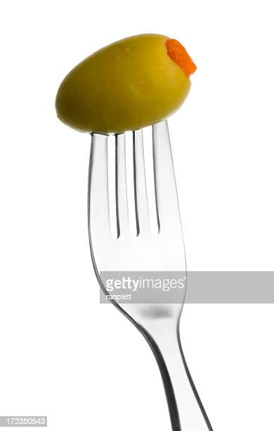 fork with green olive - green olive fruit stock pictures, royalty-free photos & images
