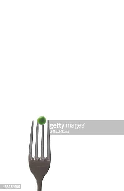 fork with peas