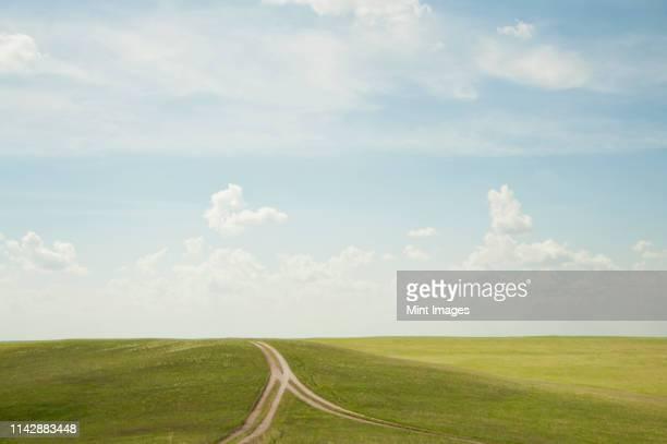 forked dirt road in remote landscape - twee objecten stockfoto's en -beelden