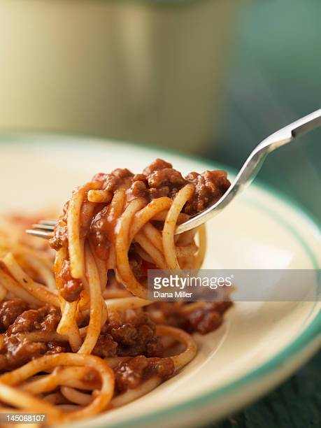Forkful of spaghetti bolognese