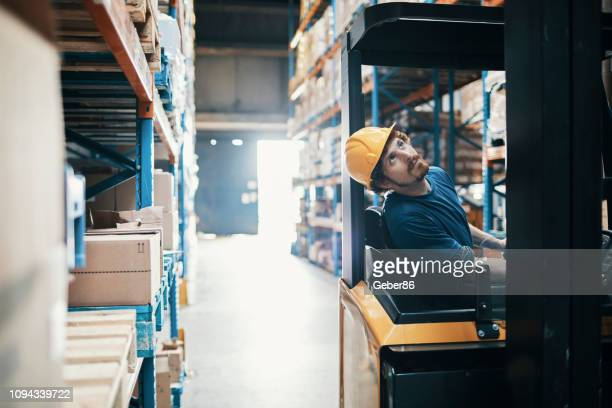 forklift driver - land vehicle stock photos and pictures