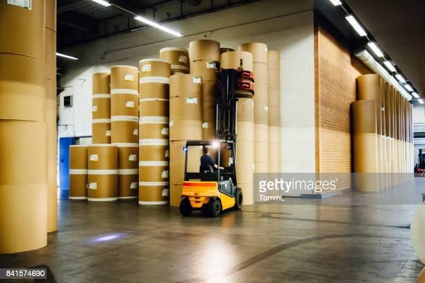 Forklift in Huge Paper Storage Hall