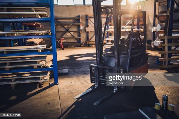 Forklift in steel factory.